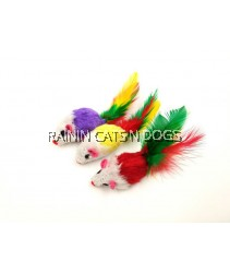 MOUSE WITH FEATHER TOY (3X PER PACK)