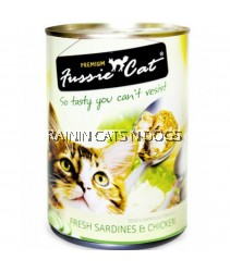 24X FUSSIE CAT FRESH SARDINES & CHICKEN CAN 400G